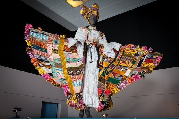 Carnival queen … Bele costume designed by Ray Mahabir at West Africa: Word, Symbol, Song. Photograph: Toby Keane